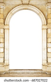 Ancient arch doorway on a white background.
