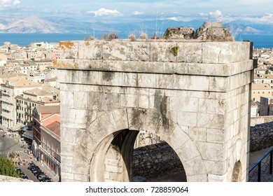 Ancient arch on a high fortress in Corfu. Greece The European Union. The popular travel review. A historical place. 17/09/2017