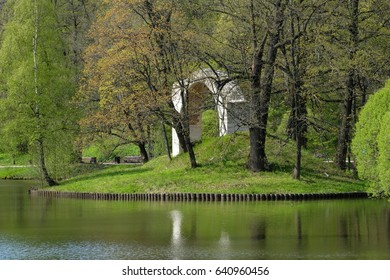An ancient arch on an island in Tsaritsyno park - sideview - Moscow, Russia