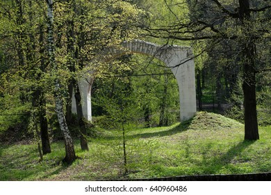 An ancient arch on an island in Tsaritsyno park - Moscow, Russia