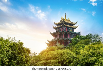 Ancient Arch Pagoda in Sunset, China, Chongqing