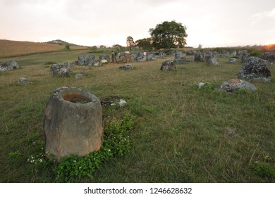 Ancient archaeological site Plain of Jars, Xieng Khuang province, Laos., Tung(field)hai (Jar) Hin.(stone)