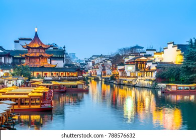 Ancient architectural landscape on the Qinhuai River in Nanjing