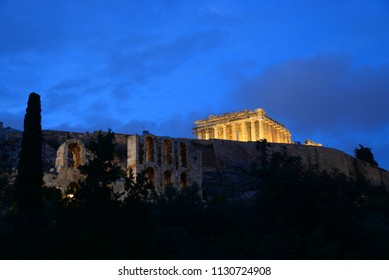 ancient architecture of Athens - Acropolis area at night