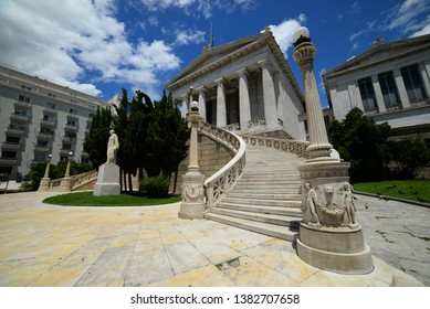 ancient architecture of Athens - Acropolis area - public Athenian Trilogy: National Library, University of Athens and Academy