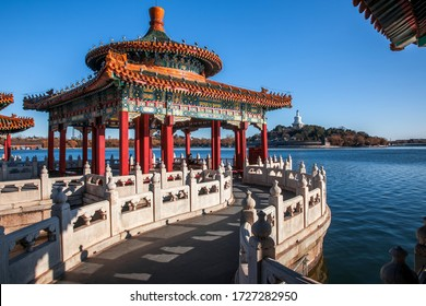 Ancient architecture in beihai park, a royal garden in Beijing, China