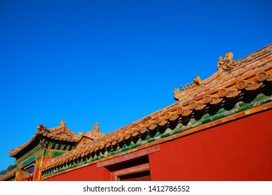 Ancient architecture ceramic wall of partial close-up in the Palace Museum,Beijing China