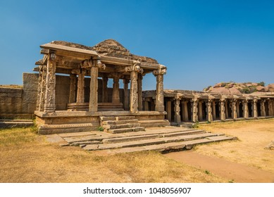Ancient architecture at Hampi from the 14th century Vijayanagara empire, currently a UNESCO World Heritage site.