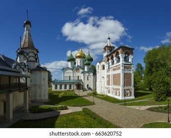 Ancient architecture is Spaso-Evfimiev monastery in Suzdal, Russia
