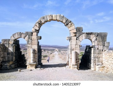 Ancient archway in the ruins of Volubilis, northern Morocco.