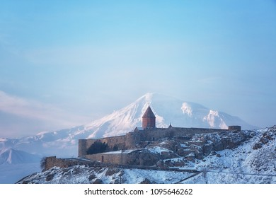 Ancient Armenian church Khor Virap with Ararat, Armenia