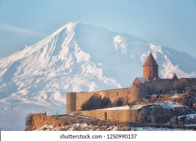 Ancient Armenian church Khor Virap with Ararat in winter