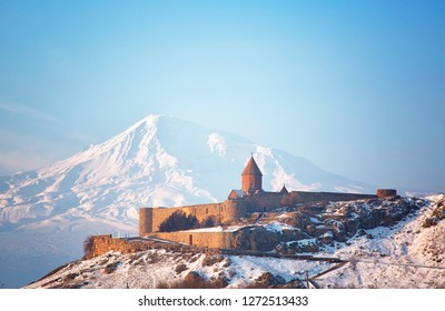 Ancient Armenian church Khor Virap with Ararat in winter day, Armenia