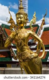 ancient art Golden Kinnaree , Wat Pra Kaeo, Thailand