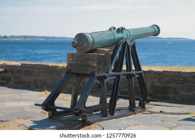 Ancient artillery piece in fortress Kristiansholm. Kristiansand, Norway