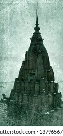 Ancient Asian civilizations affect its archaic architecture IX-X centuries. Indian Mandir and shikhara crowning temple as mount Kailash for the Shiva or mount Meru for Vishnu. Retro color photo