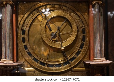 The ancient astronomical Clock. replica of a medieval astrolabe which is a navigation instrument capable of 43 different astronomical calculations.