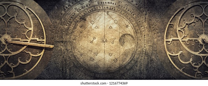 Ancient astronomical instruments on vintage paper background. Abstract old conceptual background on history, mysticism, astrology, science, etc. Retro style. - Shutterstock ID 1216774369