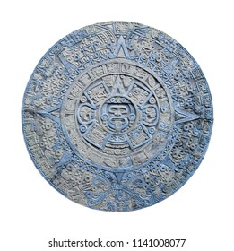 ancient aztec calendar isolated on white background