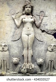 Ancient Babylonian figure dating from between 1792 and 1750 BC of  Queen of the Night probably a goddess of sexual love or the ruler of the underworld
