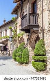 Ancient balcony in Grazzano Visconti, Emilia romagna. Sunny day