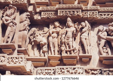 Ancient bas-relief at famous erotic temple in Khajuraho, India. Unesco World Heritage Site