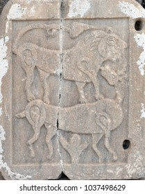 Ancient bas-relief of mythological animals from the ancient city. Mugla. Aegean sea, Turkey