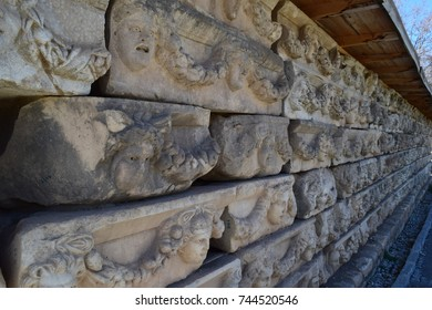 Ancient bas-reliefs of human faces of the ancient city of Aphrodisias, Aegean sea, Turkey