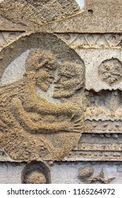 Ancient bas-reliefs on the Windows and walls of historical buildings. Architectural design elements from the past. Pair of lovers. Sankt Christophorus Autobahnkirche Baden-Baden