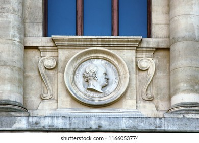 Ancient bas-reliefs on the Windows and walls of historical buildings. Architectural design elements from the past. Medallions of scientists on the walls of National Museum of Natural History. Paris