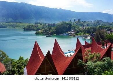 Ancient Batak house on Samosir Island beside lake Toba