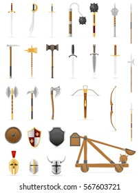 ancient battle weapons set icons stock illustration isolated on white background