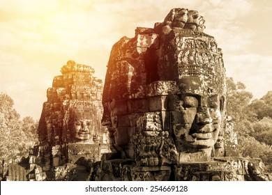 Ancient Bayon castle, Angkor Thom, Cambodia. Vintage filter.