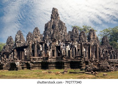 Ancient Bayon Temple (12th century)  At Angkor Wat, Siem Reap, Cambodia