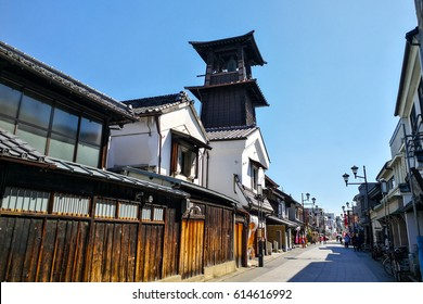 Ancient Bell Tower And Tourists In ancient Little Edo At Kawagoe, Saitama Prefecture, Japan.