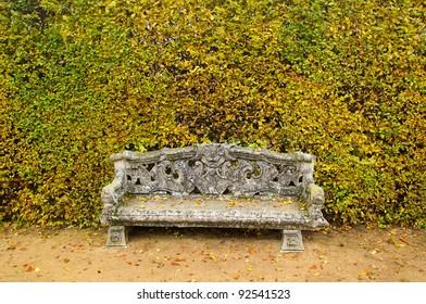 Ancient bench, garden architecture, background