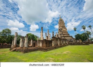 Ancient big buddha image and ruin city at Wat Phra Si Ratanamahathat, Sukhothai historical park ,UNESCO world heritage site, Sukhothai, Thailand