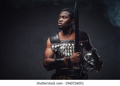 Ancient black gladiator with sword