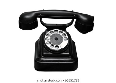Ancient black phone separately on a white background