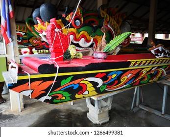Ancient boat at Wat Si Pan Ton (Si Pan Ton Temple), Nan, thailand, December 2018