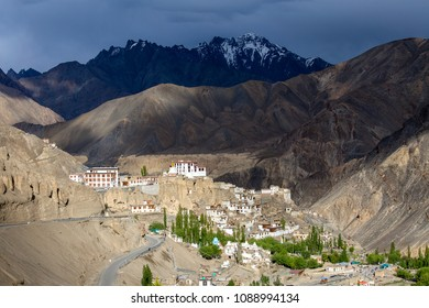 Ancient Bononian Buddhist monastery Lamayuru among the yellow rocks of the gorge, Ladakh, Himalayas, Northern India. View of the village Lamayuru and mountains Himalaya