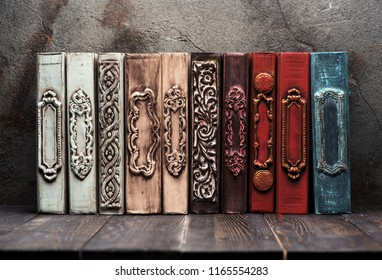 Ancient books on the shelf