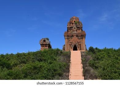 ancient brick Cham Banh It tower and pagoda in Quy Nhon, Vietnam