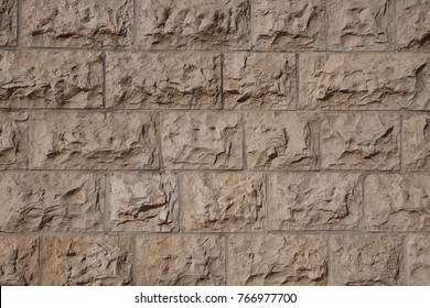Ancient brick stone wall decorative texture.