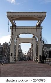 "Ancient bridge, De ""Magere Brug' in Amsterdam Holland"