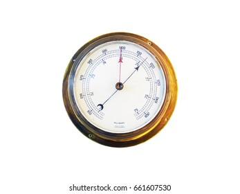 Ancient bronze english marine barometer, millibars, isolate on white background