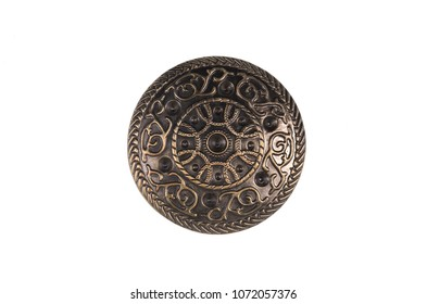ancient bronze shield on white isolated background
