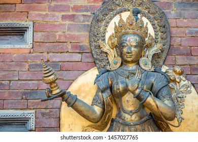 The ancient bronze statue decorated in Patan Durbar square situated at the centre of the city of Lalitpur in Nepal.