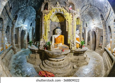 ancient buddha image at Ratanabon temple, Mrauk U ,Rakhine state ,Myanmar
