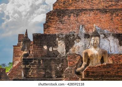 ancient buddha image statue at Sukhothai historical park Sukhothai province Thailand,Old Buddha,Thailand Southeast Asia Travel Concept